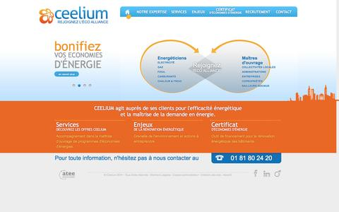Screenshot of Home Page ceelium.com - Ceelium - Rejoignez l'Eco Alliance - captured Sept. 26, 2014