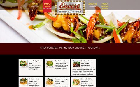 Screenshot of Menu Page encoredinnertheatre.com - Sample Menu - Encore Dinner Theatre and Banquet Hall - captured May 9, 2016