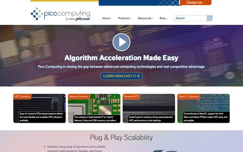 Screenshot of Home Page picocomputing.com - Pico Computing: Solutions for FPGA and Embedded HPC Applications - captured July 21, 2015