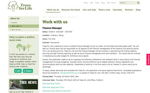 Screenshot of Jobs Page treesforlife.org.uk - Work With Us | Trees for Life - captured Feb. 27, 2016