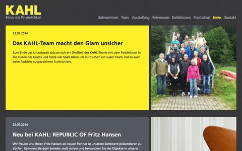 Screenshot of Press Page kahl.de - KAHL Büroeinrichtungen GmbH - Der Büroeinrichter und Objektausstatter in Mannheim und für die Metropolregion Rhein-Neckar - News - captured Oct. 1, 2014