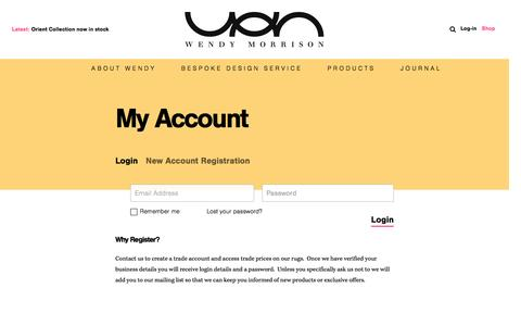 Screenshot of Login Page wendymorrisondesign.com - My Account   Wendy Morrison - captured Aug. 15, 2016