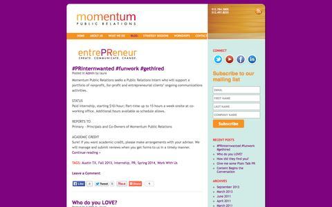 Screenshot of Blog momentum-pr.com - Blog | momentum public relations - captured Oct. 1, 2014