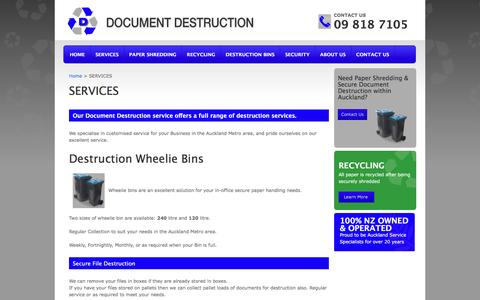 Screenshot of Services Page documentdestruction.co.nz - Document Destruction Services - captured April 12, 2017