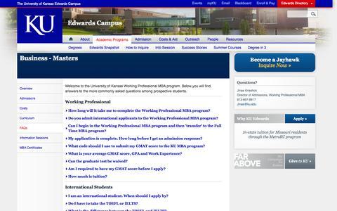 Screenshot of FAQ Page ku.edu - FAQs - Masters - Business | Edwards Campus - captured Sept. 18, 2014