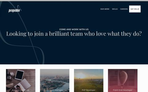 Screenshot of Jobs Page propeller.co.uk - Careers - come work with us at Propeller | Digital Agency - captured July 12, 2019