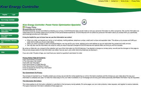 Screenshot of Privacy Page kvarenergyproducts.com - Kvar Energy Controller | Kvar Energy Optimizer - captured Oct. 6, 2014