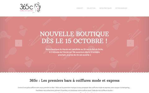Screenshot of Home Page 365c.fr - 365c | Bar à coiffures - captured Oct. 9, 2014