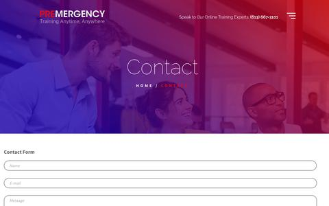 Screenshot of Contact Page premergency.com - Contact Premergency for any questions about our online learning - captured Sept. 29, 2018