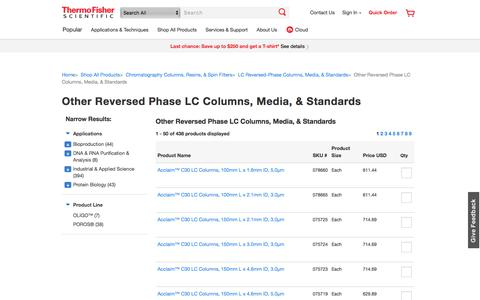 Other Reversed Phase LC Columns, Media,  Standards