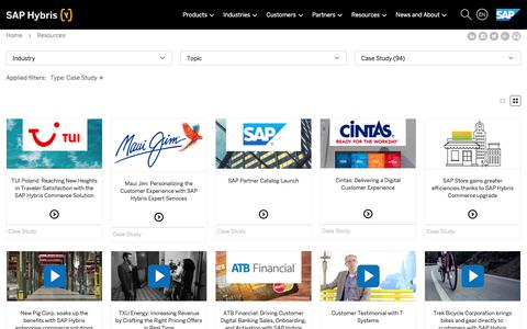 Screenshot of Case Studies Page hybris.com - E-Commerce Library, Whitepapers, Studies and webinars from hybris | SAP Hybris - captured July 5, 2017