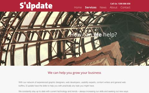 Screenshot of Services Page supdate.com.au - Web Services Melbourne - S'update - captured Oct. 27, 2014