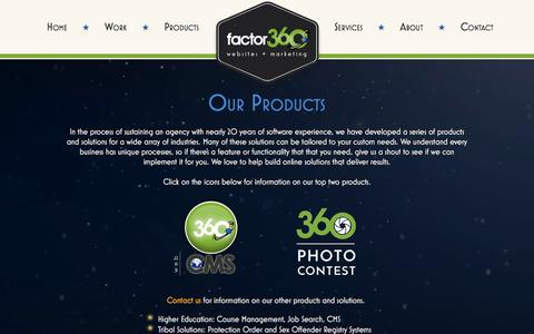 Screenshot of Products Page factor360.com - Factor 360 | Custom Products and Solutions - captured Feb. 9, 2016