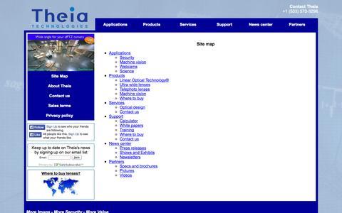 Screenshot of Site Map Page theiatech.com - Theia Technologies - captured Oct. 7, 2014