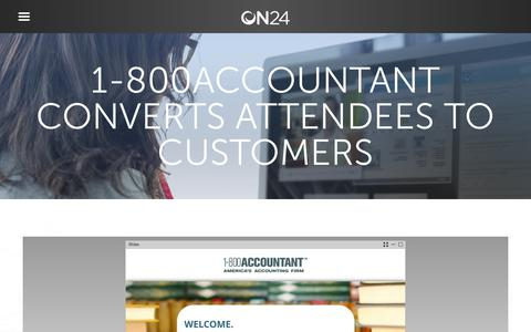 Screenshot of Case Studies Page on24.com - Case Study: 1-800Accountant wins big with webinars   ON24 - captured Oct. 12, 2017