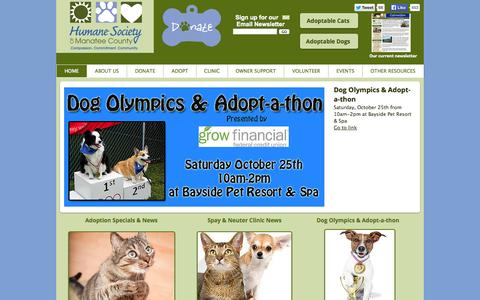 Screenshot of Home Page humanemanatee.org - Humane Society of Manatee County   Bradenton, Florida - captured Oct. 3, 2014