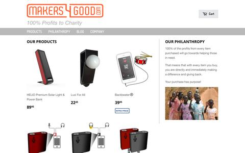 Screenshot of Products Page makers4good.com - Current – Makers4Good - captured Sept. 30, 2018