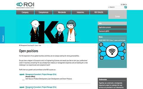 Screenshot of Jobs Page roi-international.com - Jobs - ROI Management Consulting - Unternehmensberatung - captured Nov. 5, 2017