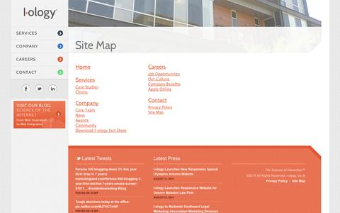 Screenshot of Site Map Page i-ology.com - Phoenix Web Development & Website Services |  I-ology |  Site Map - captured Sept. 19, 2014