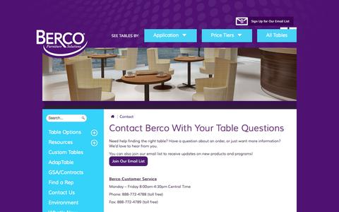 Screenshot of Contact Page bercoinc.com - Contact Berco | Tables for Meeting, Conference, Dining, and Classroom - captured Sept. 30, 2014
