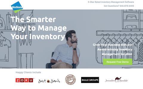 Screenshot of Landing Page bizslate.com - Award-winning | Inventory Management Software | BizSlate - captured Oct. 21, 2016