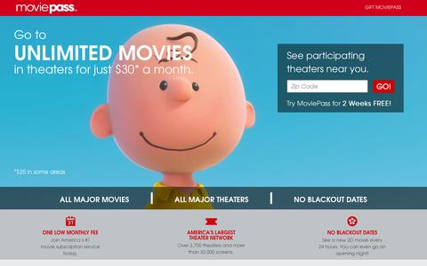 Screenshot of Home Page moviepass.com - Welcome To MoviePass - captured Nov. 3, 2015