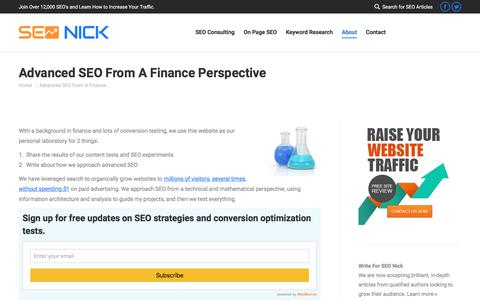 Screenshot of About Page seonick.net - Advanced SEO From A Finance Perspective - captured July 23, 2019