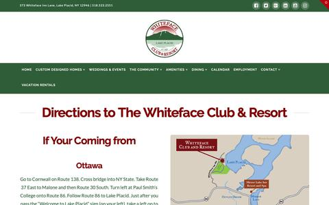 Screenshot of Maps & Directions Page whitefaceclubresort.com - Directions | Whiteface Club & Resort - captured Oct. 20, 2018