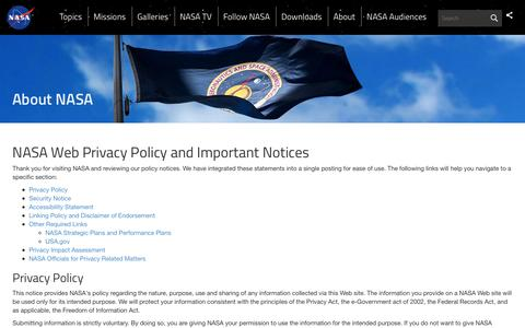 Screenshot of Privacy Page nasa.gov - NASA Web Privacy Policy and Important Notices  | NASA - captured March 30, 2016