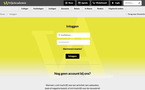 Screenshot of Login Page vrijeacademie.nl - Inloggen - captured Oct. 7, 2014