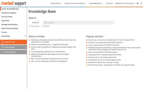 Riverbed Support: Knowledge Base