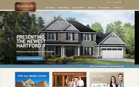 Screenshot of Home Page waynehomes.com - Wayne Homes | Custom homes built on your land - captured Sept. 22, 2014