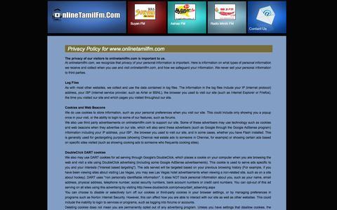 Screenshot of Privacy Page onlinetamilfm.com - Contact Us from OnlineTamilfm.com - captured Oct. 31, 2014