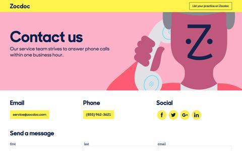 Screenshot of Contact Page zocdoc.com - Contact | ZocDoc - captured Feb. 17, 2016