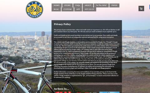 Screenshot of Privacy Page bikewrappers.com - Privacy Policy - Reflective, Decorative, and Protective Removable Wraps for your Bicycle Frame. - captured Feb. 7, 2016