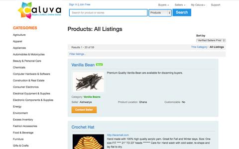 Screenshot of Products Page caluva.com - Global Marketplace - Products: All Listings - captured Oct. 1, 2014