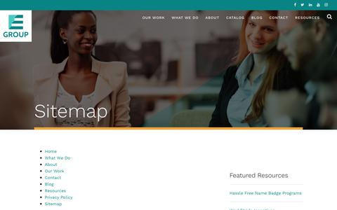 Screenshot of Site Map Page egroupengage.com - Sitemap | E Group - captured June 2, 2018