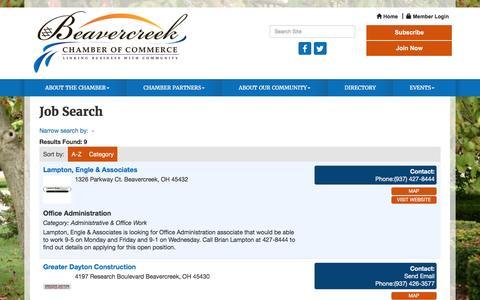 Screenshot of Jobs Page beavercreekchamber.org - Job Search - Beavercreek Chamber of Commerce , OH - captured Nov. 22, 2016