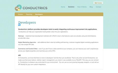Screenshot of Developers Page conductrics.com - Developers | Conductrics - captured Sept. 13, 2014