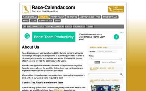 Screenshot of About Page race-calendar.com - Free Directory and Calendar for Running Events and Marathons - captured Oct. 19, 2018