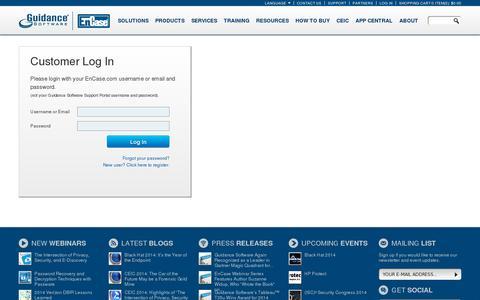 Screenshot of Login Page guidancesoftware.com captured July 18, 2014