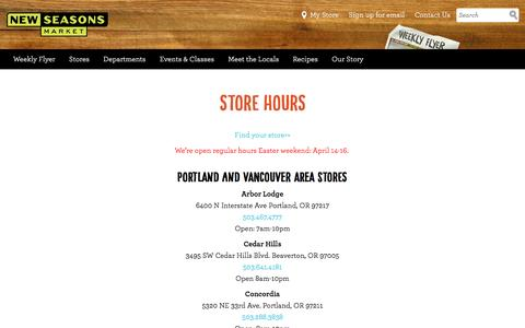 Screenshot of Hours Page newseasonsmarket.com - New Seasons Market Store Hours - New Seasons Market - captured May 9, 2017