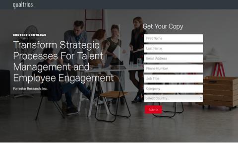 Screenshot of Landing Page qualtrics.com - Qualtrics | Forrester - Transform Strategic Processes For Talent Management and Employee Engagement - captured June 12, 2018