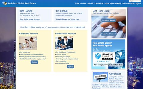 Screenshot of Signup Page real-buzz.com - The global real estate marketplace - captured Sept. 23, 2014