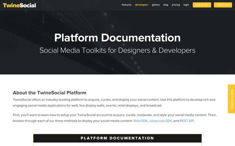 Screenshot of Developers Page twinesocial.com - Social Media Platform API - captured Aug. 25, 2017