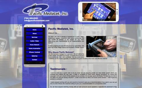 Screenshot of About Page Testimonials Page pacificmediatek.com - Pacific Mediatek - Home Theater, whole house automation, lighting control, wired and wiereless home networking - captured Oct. 1, 2014