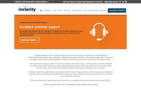 Screenshot of Support Page inclarity.co.uk - Inclarity excellent customer support - captured June 7, 2017