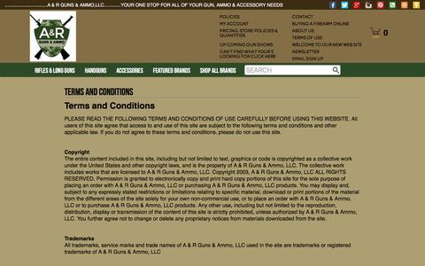 Screenshot of Terms Page argunsammo.com - Terms and Conditions | A & R Guns & Ammo,LLC - captured Nov. 17, 2016