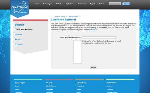 Screenshot of Support Page quartzdyne.com - Quartzdyne | Coefficient Retrieval - captured Oct. 3, 2014