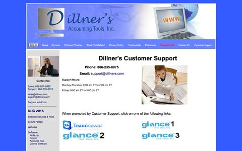 Screenshot of Support Page dillners.com - Write-Up, Payroll, Accounts Receivable Software, Websites for Accountants|Customer Support - captured Feb. 9, 2016